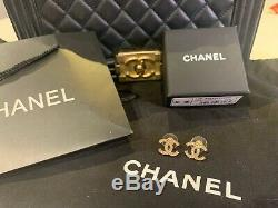Authentic Chanel Classic CC Logo Crystal gold Tone Earrings Studs