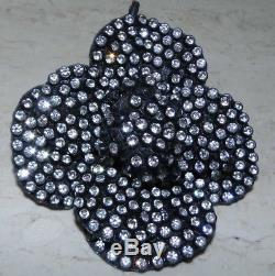 Authentic Chanel Crystal & Black Rose Brooche Beautiful & Chanel Ribbon