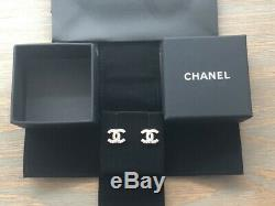 Authentic Chanel Gold Tone CC Logo Crystal Studs Earrings Small