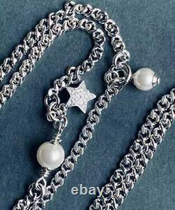 Authentic Chanel SilverT Pendant(0.6wide)Adjustable Chain(16- 22long)Necklace