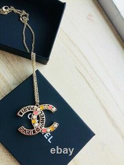 Authentic Chanel Vintage CC Crystal CC Pendant Chain Necklace