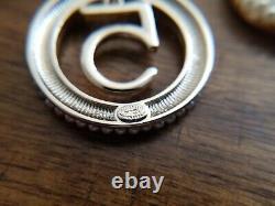 Authentic Chanel earrings CC logo RARE Stud Large # 5 Dangle Drop Earrings