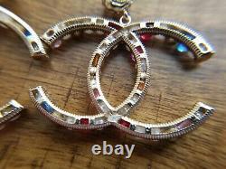 Authentic Chanel earrings CC logo RARE Stud Large Dangle Multi-colored Earrings
