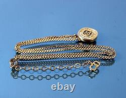 Authentic Christian Dior CD Logo Gold Tone Chain Necklace Stone Pendant 6 gm