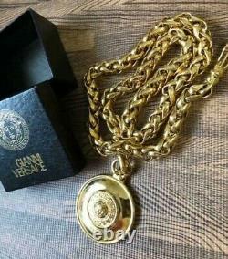 Authentic Gianni Versace Medusa Pendant Necklace Gold Belt Vintage Rare