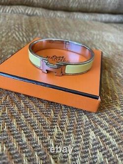 Authentic Hermes H clic clac bracelet narrow Yellow enamel/ Silver. Size PM