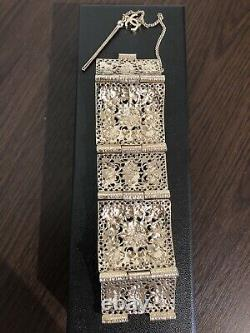 Authentic New CHANEL RUNWAY Cuff Bracelet Gripoix Glass Gold Plated