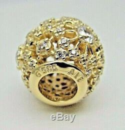 Authentic Pandora #750838CZ Inner Radiance 14K Gold Charm with CZ