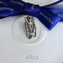 Authentic Pandora Silver 14k Gold Diamond Entangled Beauty Ring Size 54 #190242D