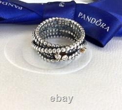 Authentic Pandora Silver 14k Gold Diamond Entangled Beauty Ring Size 56 #190242D