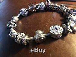 Authentic Pandora Sterling Silver Bracelet with ALE 925 Charms