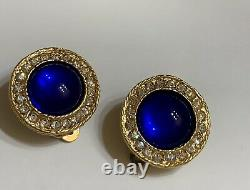 Authentic Vintage Chanel 1982 Blue Gripoix Glass Earrings Gold Plated