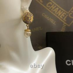 Authentic Vintage Chanel Logo, Pearl, Dangle Clip On Earrings Gold Plated