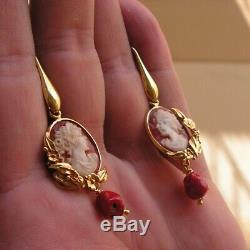 BEAUTIFUL ANTIQUE STYLE SHELL CAMEO EARRINGS ITALY FLOWER Red Coral Gem