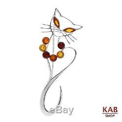 Baltic Amber Sterling Silver 925 Jewelry Brooch Beauty Cat, Kab-51