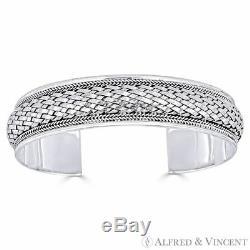 Basket-Weave Adjustable 15mm Open-Cuff Bangle Solid 925 Sterling Silver Bracelet