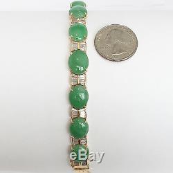 Beautiful 14K Yellow Gold Bracelet, CZ and Jade Bangle Bracelet B68