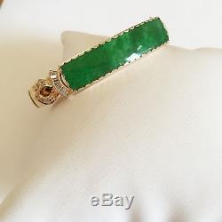 Beautiful 14K Yellow Gold Hinged Jade Bangle Bracelet B89 54 x 49 mm