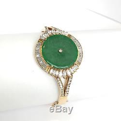 Beautiful 14K Yellow Gold Jade Hinged Ladies Bangle Bracelet 53 MM B71