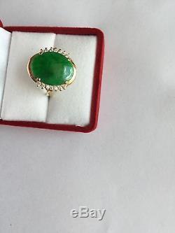 Beautiful 14K Yellow Gold Oval Jade Women Ring size 6.5 R10