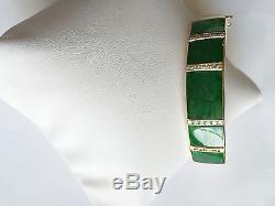 Beautiful 14K Yellow Gold Square Jade Bangle Bracelet 55 MM B49