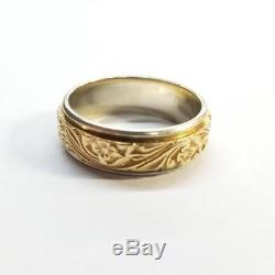Beautiful 14k Two-tone Floral Design Ring. (ac. Oe) (ppj001714)