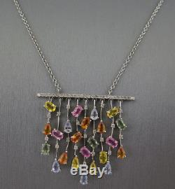 Beautiful 14k White Gold Ash Mix Gems And Diamonds Necklace Pendant 10.9 Grams