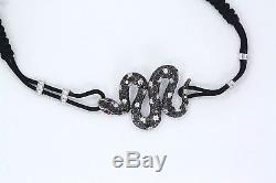 Beautiful 18Kt White Gold Snake Bracelet with Black & White Diamonds