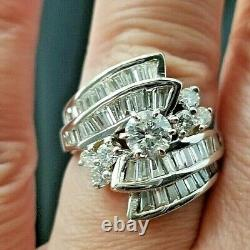 Beautiful 2.50TCW Vintage Fashion Round Solitaire Accents 14k white gold ring