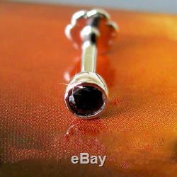 Beautiful 3mm Black Diamond 14k Gold Nose Lip Labret Monroe Piercing Stud Ring