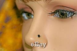 Beautiful 3mm Black Diamond 14k Gold Nose Lip Labret Monroe