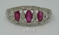Beautiful 9ct White Gold Ruby & Diamond Deco Style Ring UK Size P 1/2
