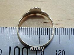 Beautiful 9ct Yellow Gold Irish Claddagh Hand Heart Style Ring Vintage