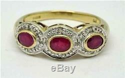 Beautiful 9ct Yellow Gold Natural Ruby & Diamond Deco Style Ring UK Size L