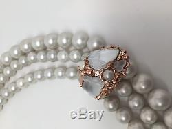 Beautiful Alexis Bittar'Candied Fruit' Faux Pearl & Rose Gold Choker Necklace