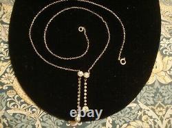 Beautiful Antique Art Deco Diamond Paste Stones Solid Silver Negligee Necklace