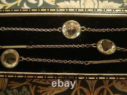 Beautiful Antique Edwardian Old Cut Diamond Paste Stones Set Station Necklace