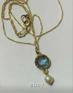 Beautiful Antique Vintage Faceted Saphiret Pendant On 18 Chain 10mm With Pearl