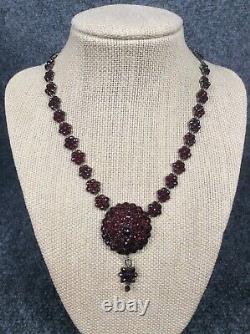 Beautiful Antique Vtg Victorian silver Bohemian Garnet Necklace