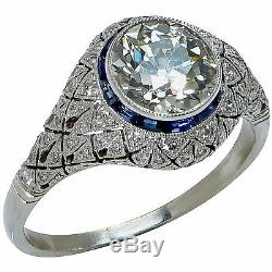 Beautiful Art Deco Style Platinum Old European Diamond Engagement Ring