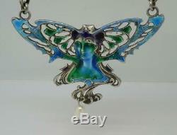 Beautiful Art Noveau Style Vintage Silver Enamel Pearl Pendant Necklace c1975