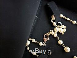 Beautiful Authentic CHANEL Classic Large CC Long Pearl Necklace Double Strand