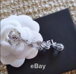 Beautiful Authentic CHANEL Classic Silver Crystal CC Earrings