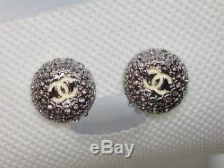 Beautiful CHANEL CC White Enamel Logo Gold Crystal Round Clip-On Earrings