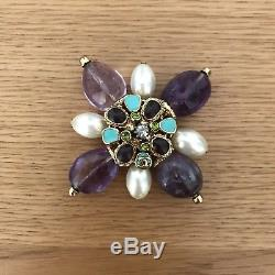 Beautiful Chanel Gripoix Amethyst and Pearl Large Brooch 2005