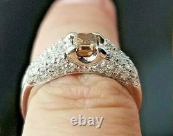Beautiful Cognac Step Cut Diamond Engagement/Fashion Platinum ring SZ 4.5
