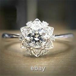 Beautiful Flower Style Engagement & Wedding Ring 14K White Gold 2.10 Ct Diamond