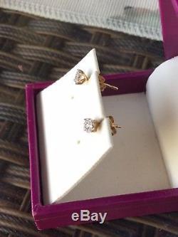 Beautiful Genuine Solid Yellow Gold 0.20-0.25ct Diamond Stud Earrings 9K 9ct