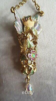 Beautiful Kirks Folly Fairy Dust Glitter Bottle Long Necklace Pendant Rare