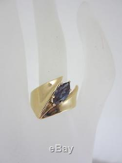 Beautiful Ladies 14k Marquise Cut Synthetic Alexandrite Solitaire Ring 8.4g
